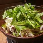 ハタハタ屋敷 - 料亭九重直伝たまご鍋 (たまごの形をしたきりたんぽとセリ.比内地鶏の鍋)