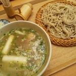 いぐさ - 「しゃものつけ汁蕎麦」しゃも出汁塩スープ♪
