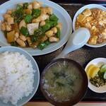 利根飯店 - 料理写真:B定食:鶏肉とピーマン炒め