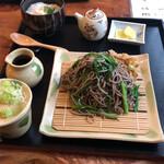 紀山 - 料理写真:ニラそば大盛り&山わさびとろろ飯