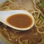 あかふじ - 辛味を溶かす前のスープは煮干し味噌デス