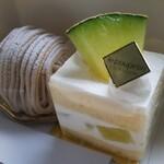 ル・ププラン - 料理写真:モンブランとメロンのショートケーキ