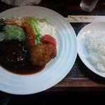 13376167 - ハンバーグ・エビ・カニコロ(味噌汁・ライス・ホットコーヒー付き) ¥1000