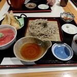 """横濱屋本舗食堂 - 私と妻が、本日いただいたのは""""天ざる・まぐろ丼セット"""""""