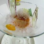 トランテアン - ブラッドオレンジのシブーストとグレープフルーツのジュレ 茗荷のグラニテをかけて