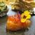 kitchen俊貴 - 料理写真:アミューズの カスマニアサーモン:美しいサーモンピンクで、厚みのあるカスマニアサーモンがロースト(瞬間燻製)され、フレッシュトマトとバジルのジュレが綺麗に飾られています。       020.07.23
