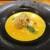 kitchen俊貴 - 料理写真:カボチャの冷製スープ:南瓜の冷製スープには、骨切りされた鱧の唐揚げが浮かべてあり、 恵那鶏の胸肉(サラダチキン)と、カシューナッツが散らしてあります。     2020.07.23