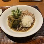 Bakuzambou - 驀仙坊(山菜お浸し、辛味大根、かいわれ、鰹節)