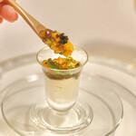 グローバルとんかつわたなべ - うにいくらアオサのジュレ お豆腐湯葉ムース