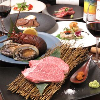 最高級食材を使用した豪華鉄板焼コースをリーズナブルに