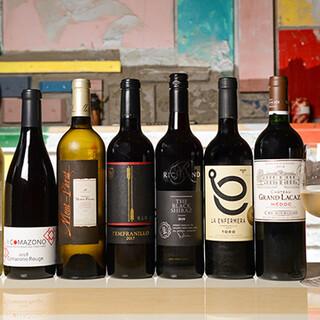 シャンパン280円!自然派ワインなど、ワインは15種以上。