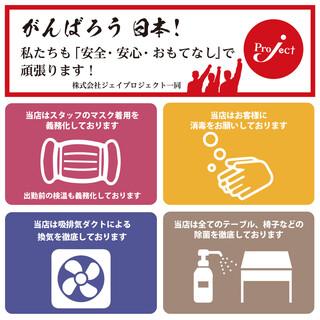 感染拡大防止の為、以下の取り組みをさせて頂いております。