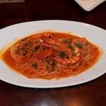 クッチーナ イタリアーナ アミーチ - タイガーエビのトマトソース スパゲティ (チョイス:単品だと \1,200)