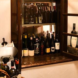 15種類以上のワインの中から、お料理に合う1本をセレクト
