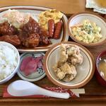 ななほし食堂 - チキンケチャップ定食(ゆしスープ)、トッピング唐揚げ
