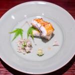 樋口 - 鰻の白焼き 山椒入りの叩き牛蒡 山葵、塩
