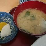 叶食堂 - 味噌汁、漬け物