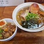 八雲  - しおらー麺+チャーシューごはん2020.07.29