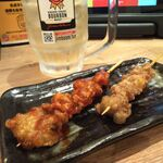 水炊き・焼鳥・鶏餃子 とりいちず - かわ串ノーマル&ホット