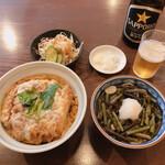そば所 よし田  - おすすめ丼+ミニ蕎麦+ミニサラダ1,091円 サッポロ中瓶700円