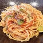 リストランテファンタジスタ - 豚肉と茄子のトマトラグーソースのスパゲッティ。