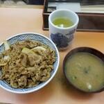 三河家 - 牛丼(大)& みそ汁