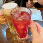 134037482 - 鳥せいさんオリジナル「鳥せいの赤」で乾杯!                       ♪(*^^)o∀*∀o(^^*)♪