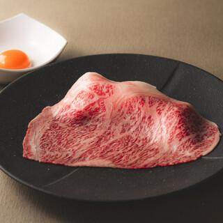 日本一こだわり卵で食べる「黒毛和牛雌大判薄切りサーロイン」