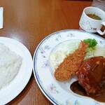 キクヤレストラン - ポークソテー・コロッケ・エビフライ