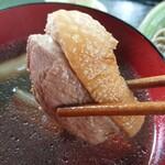 翡翠館 てんぐの蔵 - かもせいろ ¥1300大ぶりにカットされた厚鴨