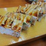 海鮮 お食事処 大橋 - あなごの押し寿司横から