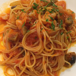 ファルスィ ラルゴ - 小エビとズッキーニのトマトソース スパゲッティーニ