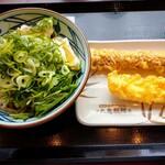 丸亀製麺 - 蒸し鶏のタルタルぶっかけ550円税込。ちくわ天120円イカ天130円。