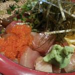 どん薩摩 - 茶ぶり入り海鮮ちらし丼;アップ