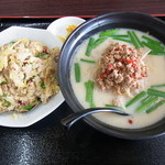 台湾料理 吉源 - 料理写真:台湾豚骨ラーメンとチャーハン