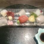 日本料理 まめぞう - お造り マグロ、いか、ひらめ 浜納豆巻き、泡ポン酢
