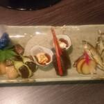 日本料理 まめぞう - 八寸 鮎塩焼き、焼魚、茄子田楽、湯葉、無花果和え、ごま麩など