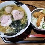 ごん蔵 - 魚介塩ラーメン&牡蠣タルタル丼 1220円