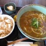 麺工房夢 - 料理写真:カレーうどんと火薬ご飯(880円)