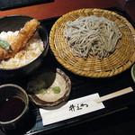 井ざわ - 井ざわ ランチ:穴子丼とざるそばのセット1050円