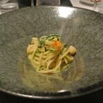 リストランテ カノフィーロ - 帆立とズッキーニ、サフランのソース スパゲッティ