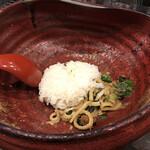 つけ麺 雀 - 〆ご飯を投入