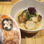 祇園 にし - 賀茂茄子と車海老のあんかけ、炊き合わせ。