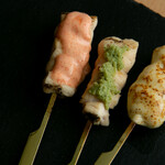 炭火串焼き. 純 - ササミ三昧(チーズ味、メンタイ味、ワサビ味)