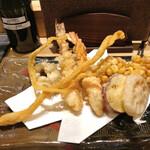 鮨 航 - 天ぷら盛り合わせ♬に大好きな『とうもろこしかき揚げ』を入れてもらった^^