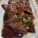 焼肉のまるちゃん - ここのレバーは肉厚で美味い!自信が有るからこの厚さ‼️