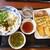 丸亀製麺 - 料理写真:青唐おろし醤油(大)& いなり & いわし天 & とうもろこし天 & 雪国まいたけ天