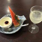 幸喜屋 - デザート(かぼすゼリー&スイカ)・かぼすジュース