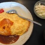 かわはら食堂 - 料理写真:オムライス(サラダ、みそ汁つき)720円