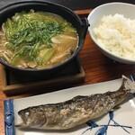 134414086 - 山の芋鍋,御飯,岩魚の塩焼き
